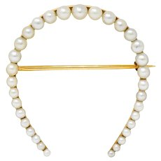 Sloan & Co. Art Nouveau Pearl 14 Karat Gold Horseshoe Brooch