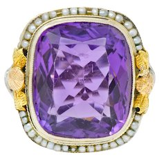 Bassett Jewelry Co. Art Deco 13.34 CTW Amethyst Natural Freshwater Pearl 18 Karat Tri-Colored Gold Cocktail Ring