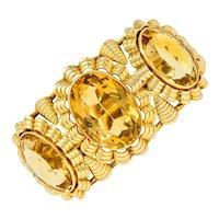 Retro Citrine 14 Karat Gold Floral Gemstone Cuff Style Bracelet
