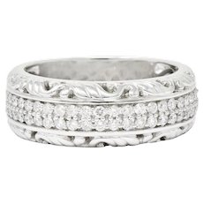 Contemporary 1.00 CTW Diamond 14 Karat White Gold Unisex Band Ring