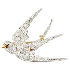 Edwardian 1.06 CTW Pave Diamond Platinum-Topped 18 Karat Gold Swallow Bird Brooch