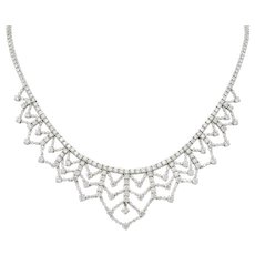 Contemporary 13.89 CTW Diamond 18 Karat White Gold Tiered Drop Necklace
