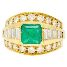 Vintage 2.60 CTW Emerald Diamond 18 Karat Gold Band Ring