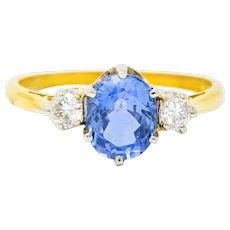 1955 Mid-Century 1.70 CTW Sapphire Diamond 18 Karat Two-Tone Gold Three Stone Ring