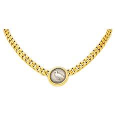 1980's Bulgari 18 Karat Gold Italian Akragas Ancient Coin Collar Monete Necklace