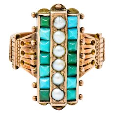 Victorian Etruscan Revival Natural Seed Pearl Turquoise 14 Karat Rose Gold Ring