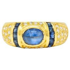 Vintage Sapphire Diamond 18 Karat Gold Cabochon Band Ring