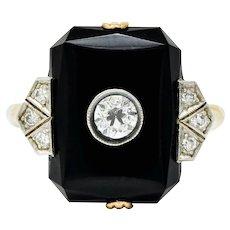 Art Deco 0.26 CTW Diamond Onyx Platinum-Topped 14 Karat Gold Ring