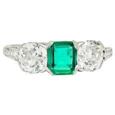 Edwardian 2.71 CTW Emerald Diamond Platinum Three Stone Ring Circa 1915