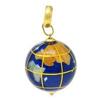 Vintage Shell Inlay Italian 14 Karat Gold Articulated Globe Pendant Charm