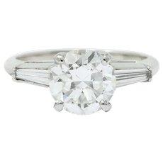 1950's Mid-Century 2.22 CTW Diamond Platinum Engagement Ring GIA