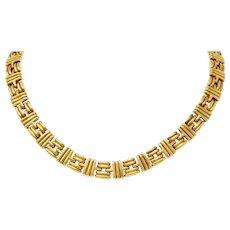 Bulgari 1980's Vintage 18 Karat Gold Italian Ribbed Link Collar Necklace