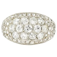 Art Deco 2.10 CTW Diamond 18 Karat White Gold Pave Bombe Band Ring