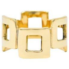 Jules Brenner Modernist 14 Karat Gold Fashionable Cushion Band Ring