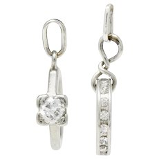 Retro Diamond Platinum Wedding Ring Set Charm