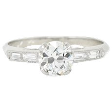 Art Deco 1.21 CTW Old European Cut Diamond Platinum Engagement Ring GIA