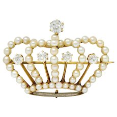 Victorian Diamond Pearl 14 Karat Gold Crown Pendant Brooch