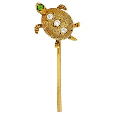 Kirby Art Nouveau Diamond Demantoid Garnet 14 Karat Gold Turtle Stickpin