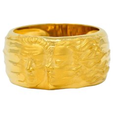 Carrera Y Carrera 18 Karat Yellow Gold Adam & Eve Band Ring Circa 1990