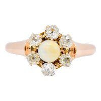 Victorian Opal Diamond 14 Karat Rose Gold Cluster Ring