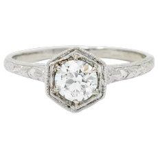 Edwardian 0.65 CTW Diamond Platinum Floral Hexagonal Engagement Ring