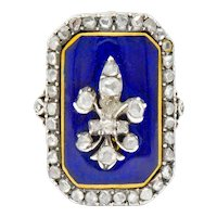 Georgian Rose Cut Diamond Enamel Silver-Topped 14 Karat Gold Fleur-De-Lis Ring