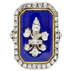 Georgian Rose Cut Diamond Enamel Silver-Topped 14 Karat Gold Fleur-De-Lis Ring