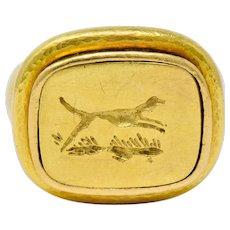 Elizabeth Locke Contemporary 18 Karat Gold Foxhound Signet Ring