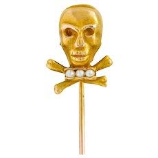 Victorian Natural Freshwater Seed Pearl 14 Karat Gold Skull Crossbones Stickpin