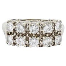 Retro 1.00 CTW Diamond 14 Karat Gold Double Row Band Ring