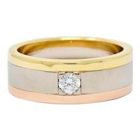 Cartier Diamond 18 Karat Tri-Gold Trinity Unisex Band Ring