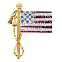 1950's Diamond Sapphire Ruby 18 Karat Gold Platinum American Flag Patriotic Unisex Brooch