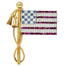1950's Diamond Sapphire Ruby 18 Karat Gold Platinum American Flag Patriotic Unisex Brooch
