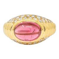 Bulgari Pink Tourmaline Pave Diamond 18 Karat Gold Italian Cabochon Band Ring