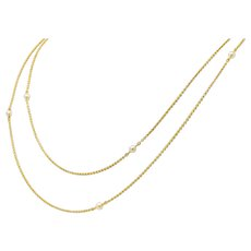 Vintage Pearl Station 14 Karat Gold 57 Inch Long Chain Necklace