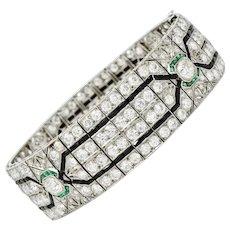 Art Deco 23.86 CTW Diamond Emerald Onyx Platinum Wide Decorous Bracelet