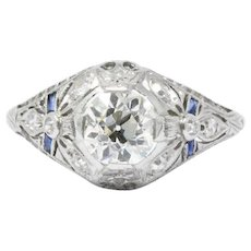 Belle Époque 1.14 CTW Diamond & Synthetic Sapphire Platinum Engagement Ring GIA