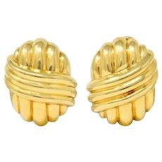 Van Cleef & Arpels 18 Karat Gold Ribbed Knot Ear-Clip Earrings