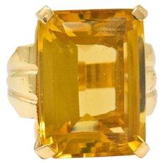 Retro Emerald Cut Citrine 14 Karat Gold Statement Ring Circa 1940