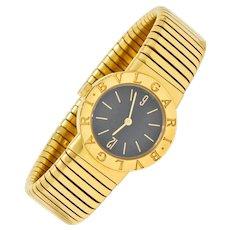 Bulgari 18 Karat Yellow Gold Tubogas Serpenti Flex Band Wrist Watch