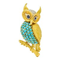 Vintage French Sapphire Diamond Turquoise 18 Karat Two-Tone Gold Long-Eared Owl Brooch