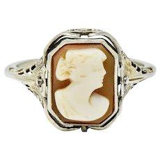 1929 Art Deco Carved Hardstone Onyx Platinum 18 Karat White Gold Cameo Flip Ring