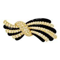 1970's Vintage 5.55 CTW Diamond Onyx 18 Karat Gold Striped Bow Brooch
