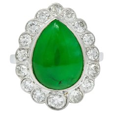 Art Deco Jadeite Jade Diamond Platinum Pear Cluster Ring GIA