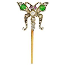 Victorian Demantoid Garnet Diamond Silver-Topped Gold Butterfly Stickpin