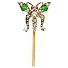 Victorian Demantoid Garnet Diamond Silver-Topped Gold Butterfly Stickpin