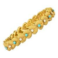 1960's House of La Triomphe Diamond Turquoise 14 Karat Gold Heart Link Bracelet