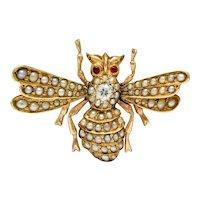 Victorian Diamond Natural Freshwater Pearl 14 Karat Gold Insect Brooch Circa 1900