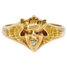 Art Nouveau Diamond Ruby 14 Karat Gold Winged Green Man Band Ring