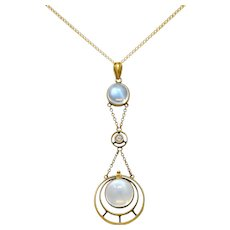 Allsopp & Son Art Nouveau Moonstone Diamond 14 Karat Gold Drop Swag Necklace